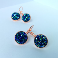 Navy Blue Druzy French Lever Back Earrings / Rose Gold Plated