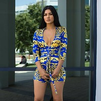 Versace Fashion Women Retro V-Neck Long Sleeve Shorts Jumpsuit