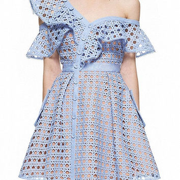 Blue Hollow Out Lace Asymmetric Frill Skater Dress