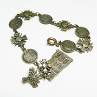 Vintage France Tourist Bracelet - Reims Cathedral - St Mihiel American War Cemetary Memorial  - Château-Thierry - Battle of Verdun -