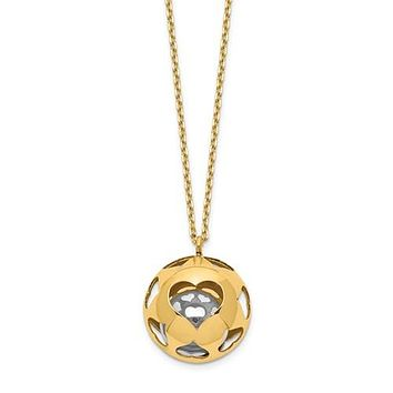 14K Gold Two Tone Bell Heart Necklace