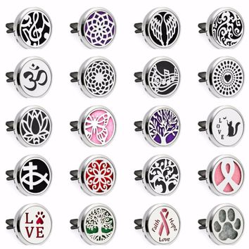 Tree Of life Paw 30mm Magnetic Essential Oil Car Diffuser Locket Vent Clip Aromatherapy Perfume Locket 10pcs Pads