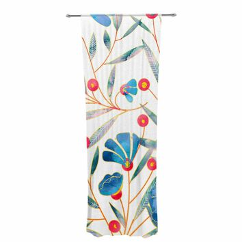 "83 Oranges ""Bluebella"" Blue White Nature Floral Illustration Watercolor Decorative Sheer Curtain"