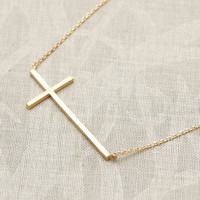 Sideways Cross Necklace In Gold on Luulla