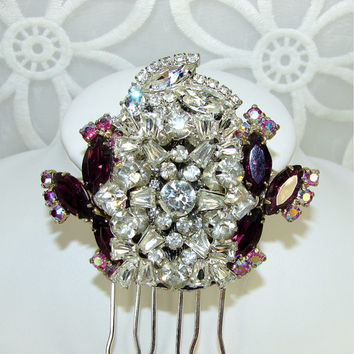 Mulberry Purple Rhinestone Bridal Hair Comb Wedding Hairpiece Formal Headpiece Ballroom Pageant Aurora Borealis Jewelry New Years Accessory