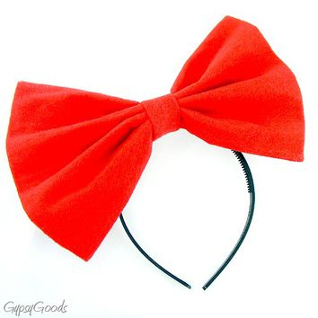 Large Red Hair BOW.. Big soft flannel cosplay or costume HEADBAND