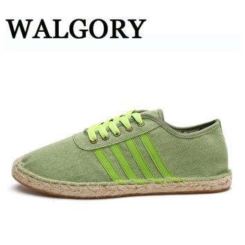WALGORY Men's Canvas Shoes Hemp Flats Casual Shoes Spring / Summer Fashion Breathable Loafers Lace-up Fishman Shoes