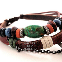 Beautiful turquoise bead leather handmade bracelet from Urban Zen Jewelry Boutique