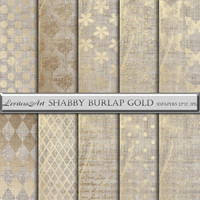"Digital Paper ""Shabby burlap gold"" digital background for scrapbooking, invites, cards,web design,jewelry making.Instant Download"