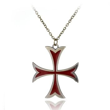 New Statement Assassins Creed 3 Templar Necklace Alloy Cross Shape Pendant Necklace Fashion Jewelry Men Women