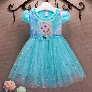 Cool Girl Dresses Summer Brand Baby Kid Clothes Princess Anna Elsa Dress Snow Queen Cosplay Costume Party Children Clothing New YearsAT_93_12