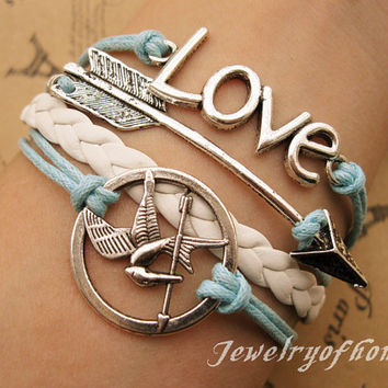 lovearrow&hunger games braceletlove by jewelryofhome on Etsy