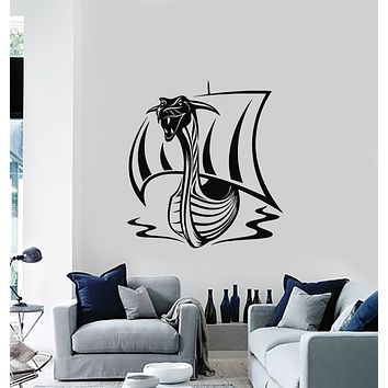 Vinyl Wall Decal Drakkar Middle Ages Viking Ship Dragon Head Stickers Mural (g1848)