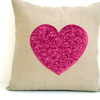 Off-White Burlap heart pillow cover with candy pink heart made with sequins- Decorative cushion cover-Valentine gift - Throw pillow 16X16