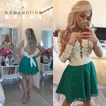 Sexy Sheer Back Long Sleeve Green Homecoming Dresses 2016 Short Lace A Line Pearls Prom Party Dresses Vestidos De Baile