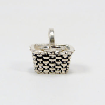 Basket Charm, Sterling Silver, Woven Basket, Vintage Charm, 925 Silver, 1960s Charm