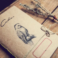Boho Owl Notebook, Recycled paper journal, Woodland diary