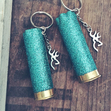 Teal Glitter 12 Gauge Shotgun Shell Keychain with Browning Deer Head Symbol