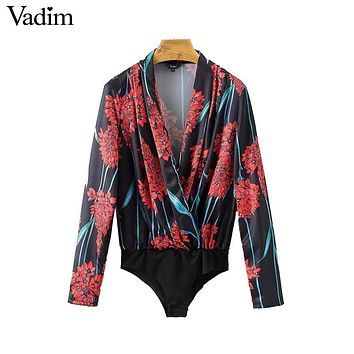 Vintage V Neck Floral Pattern Bodysuit Crossover Design Loose Long Sleeve Casual Chic Retro Tops
