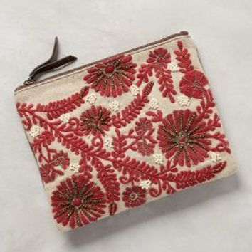 Jasper & Jeera Mayenne Embroidered Pouch in Red Size: One Size Clutches