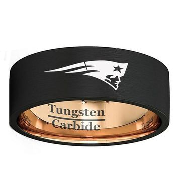 Customize Engrave New England Patriots Logo 8mm Black & Rose Gold Color Tungsten Wedding Band Men's Sports Ring