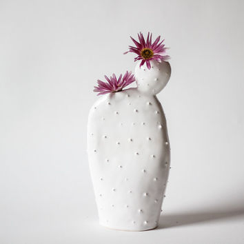 Original ceramic cactus shaped vase/ handmade vessel/ ceramic design/ white/ spring