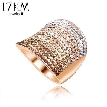 Christmas Gift Gradient Austrian Crystal Engagement Rings/Promise Ring Gold Plated Charm Jewelry Ring aneis CS12