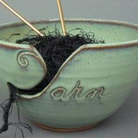 Yarn Bowl Green Handmade Pottery by TheMudPlace