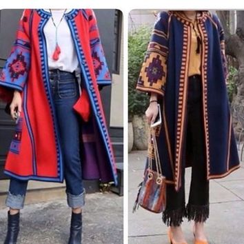 2018 New Autumn Winter Fashion Folk Style Vintage Geometric Print Flare Sleeve Sweater Women Long Knit Cardigan Coat Long Dress