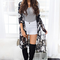 Better Together Floral Printed 3/4 Sleeve Kimono (Black)