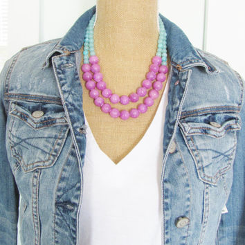 Color Block Necklace Lavender Purple, Aqua Blue Dyed Jade Multi Color Statement Necklace
