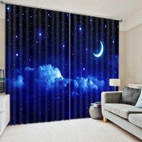 Modern Luxury Fantasy Moon Star Night 3D Blackout Window Curtains For  Kids Bedding room Living room Hotel Drapes Cortinas