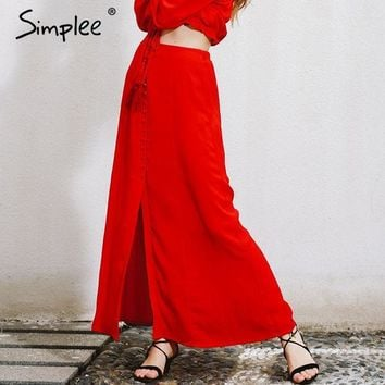ESBONHS Simplee Split up bohemian chiffon skirts womens Vintage party elegant long skirt casual loose maxi beach summer red skirt