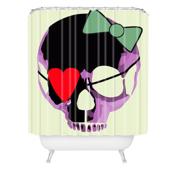 Amy Smith Pink Skull Heart With Bow Shower Curtain