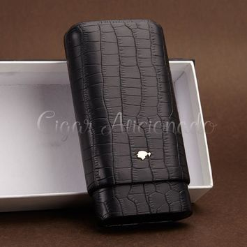 COHIBA Gadgets Brand High-end Portable Black Crocodile Leather Cigar Case Outdoor Travel Humidor