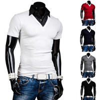 Men's Dress Shirt Collar Slim Polo Tee
