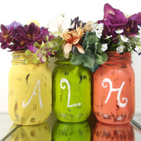 Initial Mason Jar Vase Set -- Hand Painted Mason Jar Decor -- Colorful, Country Chic Decor