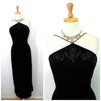 Vintage 80s Black Velvet, Formal Spaghetti Strap Beaded Maxi Evening Cocktail Party Gown