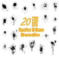 PAINT SPLATTER SVG, Splatter And Runs svg, splash svg, paint splash svg, Bonus Vector Brushes, clipart, decal, stencil, silhouette
