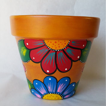 Pottery, hand painted flower pot, rustic flower pot, painted clay pot, planter, painted planter, rustic pot, patio decor, pot for plants