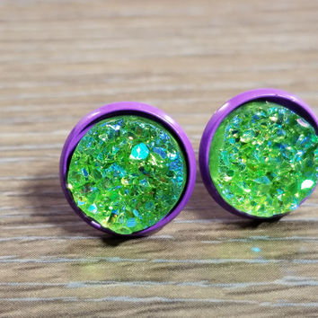 Druzy earrings- Lime green drusy - Purple stud druzy earrings