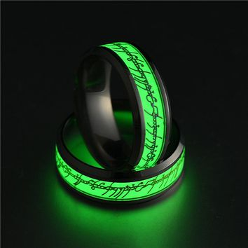 Hot Stainless Steel Ring For Lover Luminous Green And Blue Letter Ring Glow In The Dark Women Men Bands Party Finger Ring Jewels