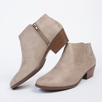Suede Wooden Heel Booties