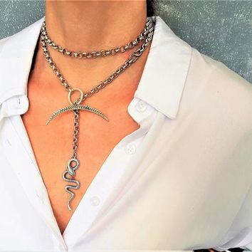 Silver chunky chain lariat double strand necklace, unique wrap bold chain choker, statement snake and crescent necklace, rock style choker