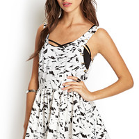 FOREVER 21 Abstract Open-Back Romper Cream/Black