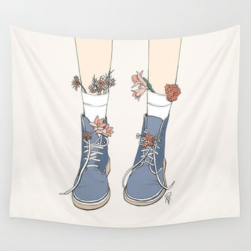 Boots Wall Tapestry by Rebecca Flattley