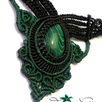 Handmade macrame necklace made with Thai wax cord and a malachite cabochon