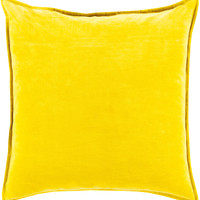 Surya Cotton Velvet Throw Pillow Yellow
