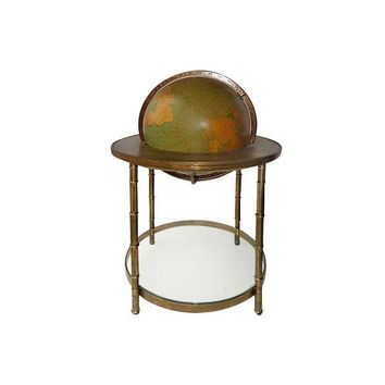 Pre-owned Illuminated Brass Floor Globe by Mastercraft