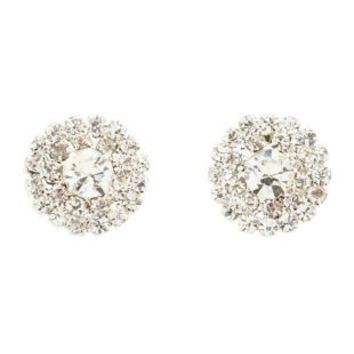 Silver Rhinestone Button Stud Earrings by Charlotte Russe